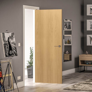 Image: Bespoke Fire Door - Flush American White Oak Veneer - 30 Minute Fire Rated - Prefinished
