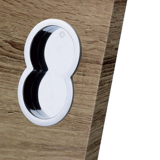 Image: 80mm Shaped Flush Pull - Satin Chrome: European Manital Otto ART84 Sliding Door Flush Pulls (Pair)