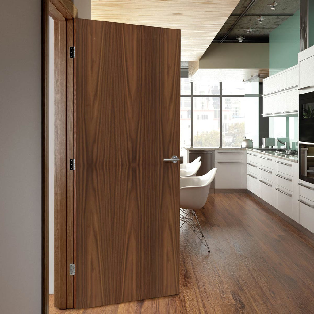 Bespoke Fire Door - Flush American Black Walnut Veneer - 30 Minute Fire Rated - Prefinished