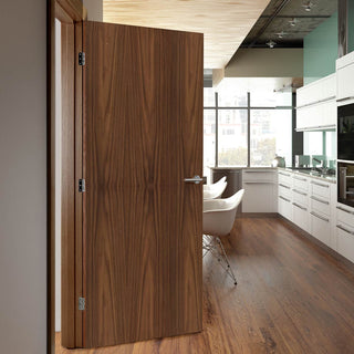 Image: Bespoke Fire Door - Flush American Black Walnut Veneer - 30 Minute Fire Rated - Prefinished