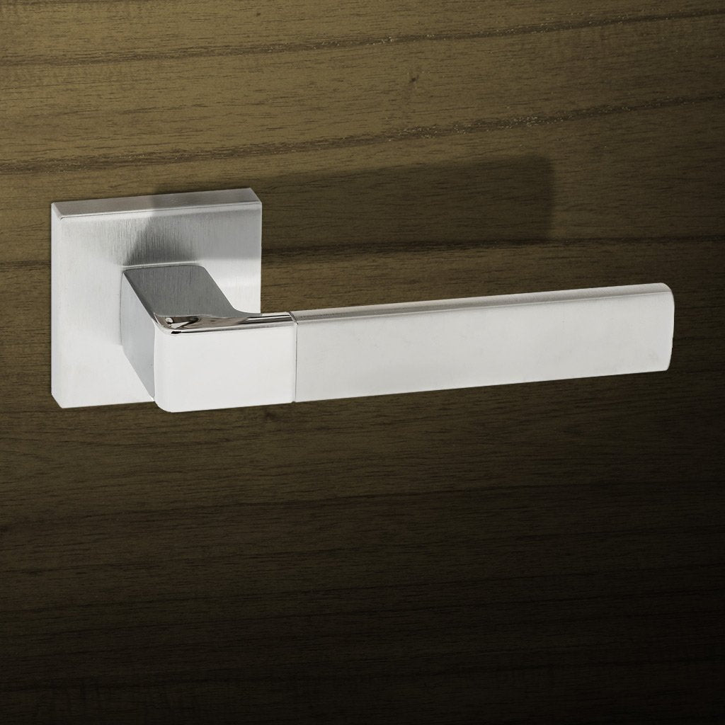Asti Forme Designer Lever on Minimal Square Rose - Satin Chrome - Polished Chrome