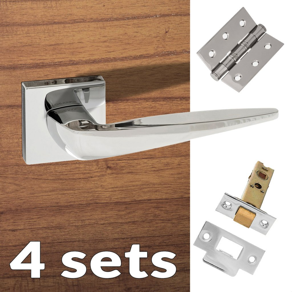 Four Pack Foglia Forme Designer Lever on Minimal Square Rose - Polished Chrome Handle