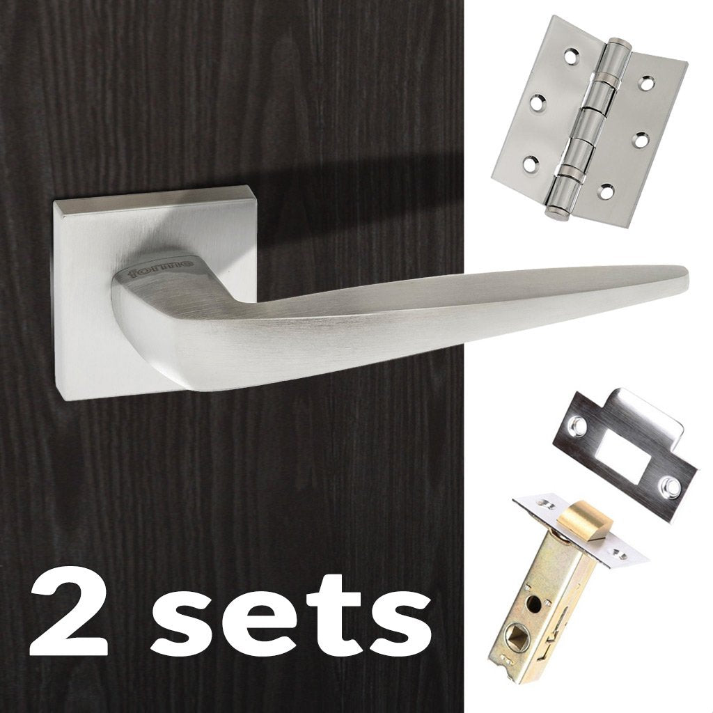 Two Pack Foglia Forme Designer Lever on Minimal Square Rose - Satin Chrome Handle