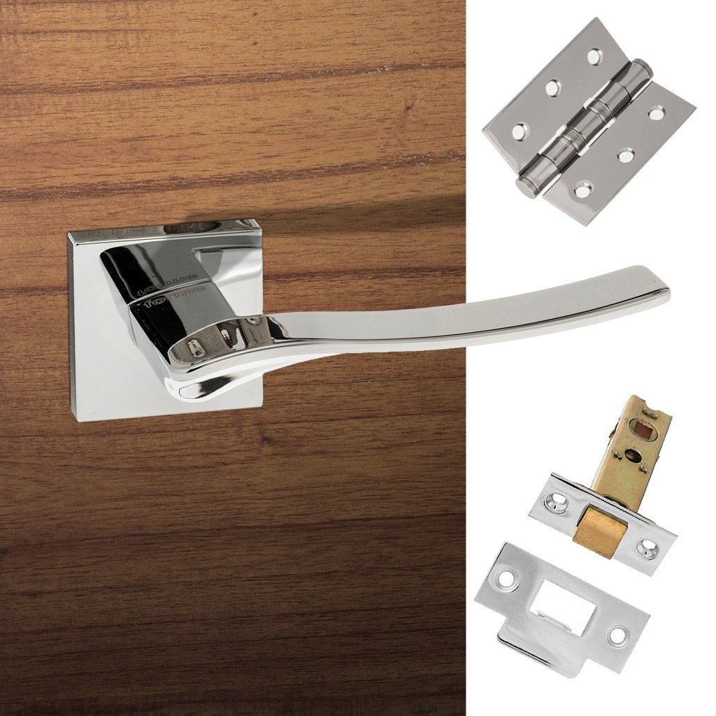 Olimpia Forme Designer Lever on Minimal Square Rose - Polished Chrome Handle Pack
