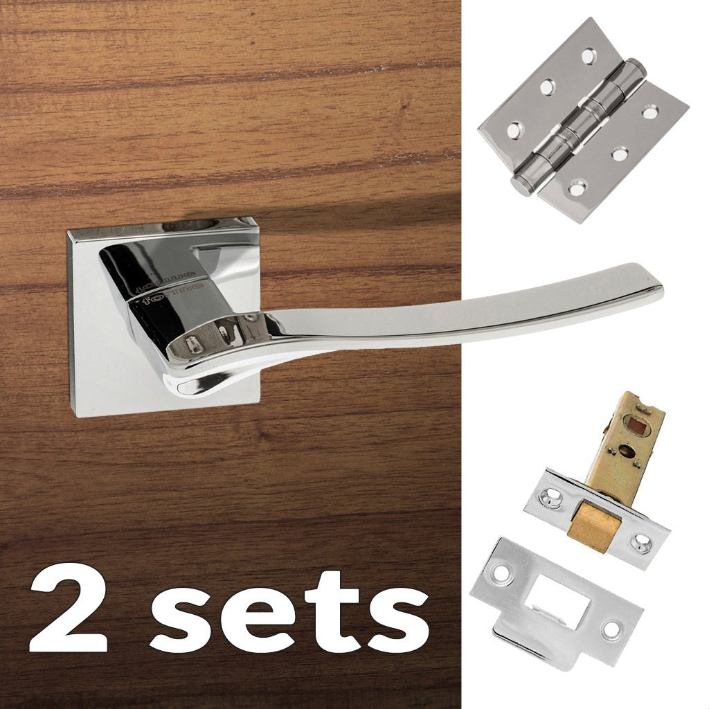 Two Pack Olimpia Forme Designer Lever on Minimal Square Rose - Polished Chrome Handle
