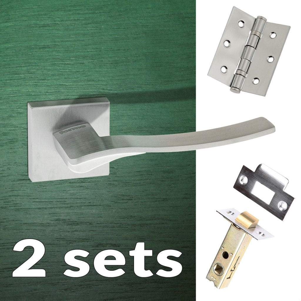 Two Pack Olimpia Forme Designer Lever on Minimal Square Rose - Satin Chrome Handle