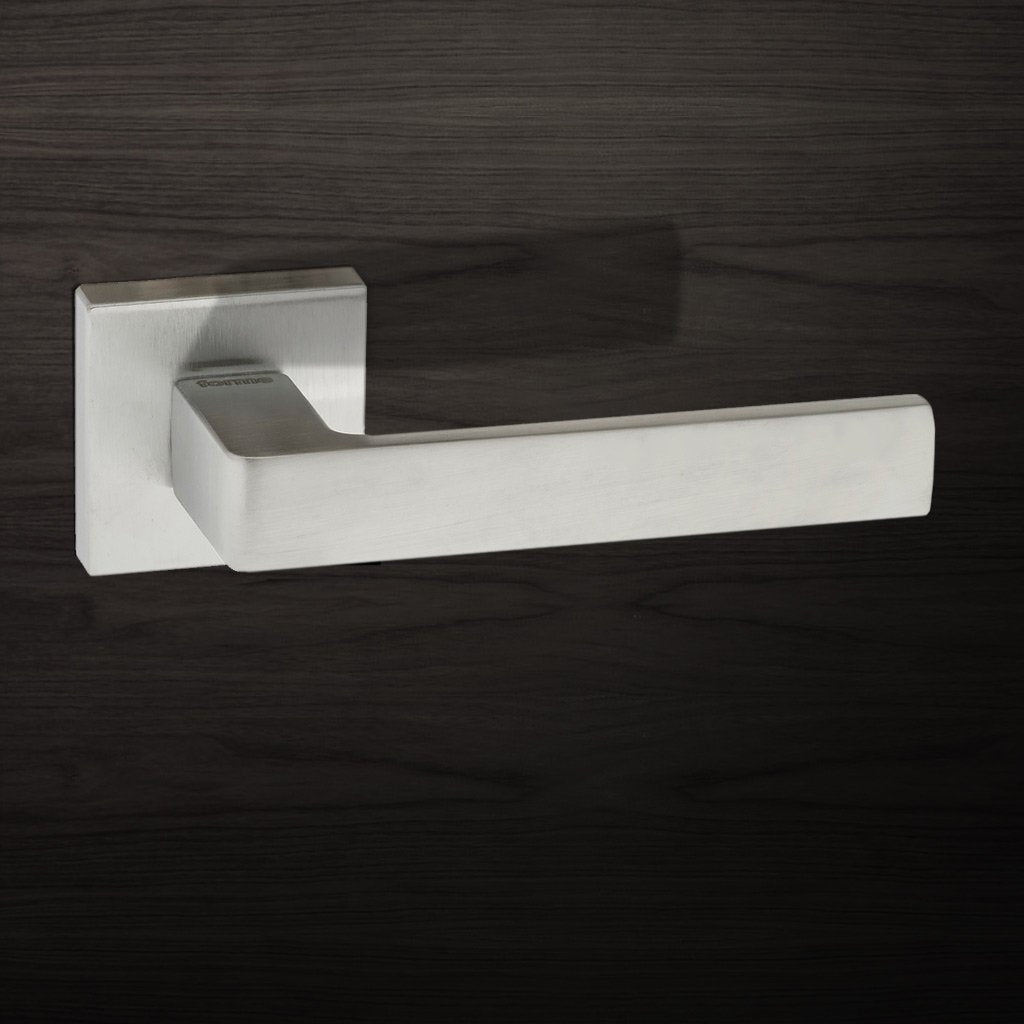 Asti Forme Designer Lever on Minimal Square Rose - Satin Chrome