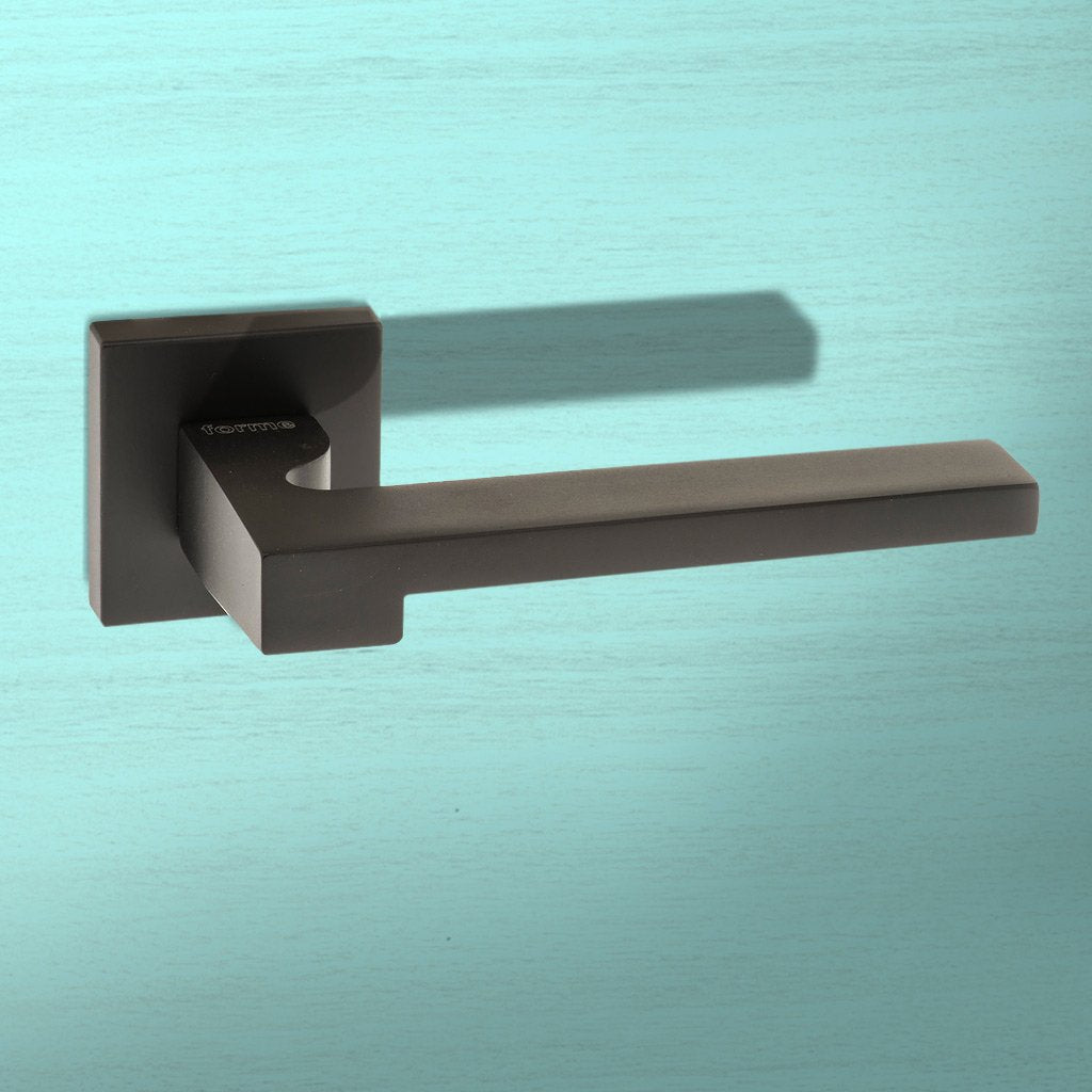 Ginevra Forme Designer Lever on Minimal Square Rose - Matt Black