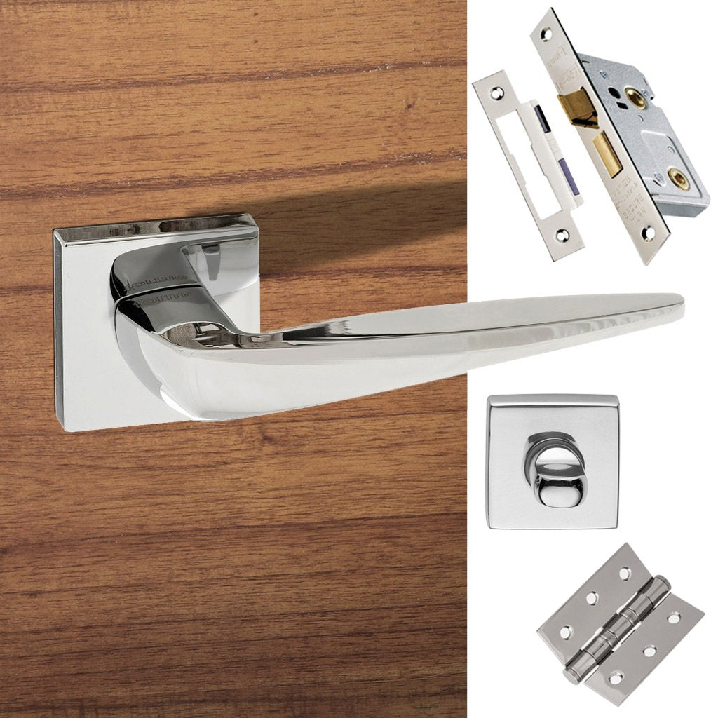 Foglia Forme Designer Bathroom Lever on Minimal Square Rose - Polished Chrome Handle Pack