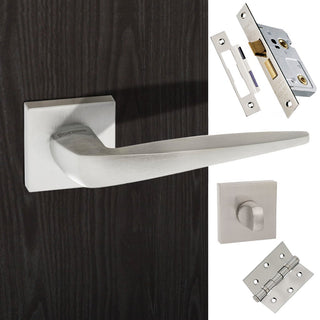 Image: Foglia Forme Designer Bathroom Lever on Minimal Square Rose - Satin Chrome Handle Pack
