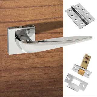 Image: Foglia Forme Designer Fire Lever on Minimal Square Rose - Polished Chrome Handle Pack