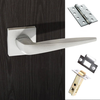 Image: Foglia Forme Designer Fire Lever on Minimal Square Rose - Satin Chrome Handle Pack