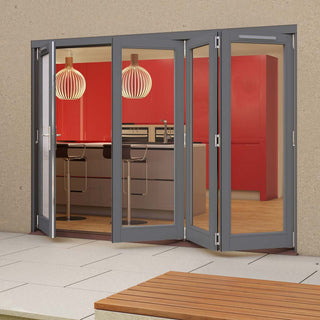 Image: Jeld-Wen Darwin Dusky Grey Painted Hardwood Fold and Slide Patio Doorset, GDAR301L3R, 1 Left - 3 Right, 2994mm Wide