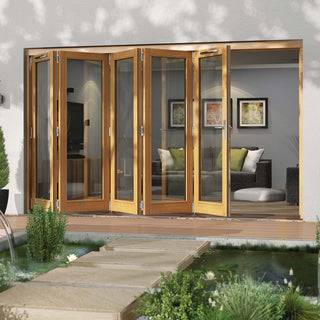 Image: Jeld-Wen Canberra Stained Oak Fold and Slide Solid Patio Doorset, SFCAN365R, Right, 3594mm Wide
