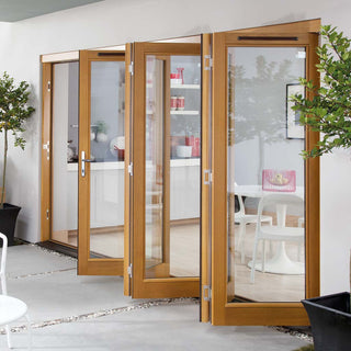 Image: Jeld-Wen Canberra Stained Oak Fold and Slide Solid Patio Doorset, SFCAN365L, Left, 3594mm Wide