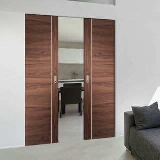 Image: Bespoke Forli Walnut Flush Double Frameless Pocket Door - Aluminium Inlay - Prefinished
