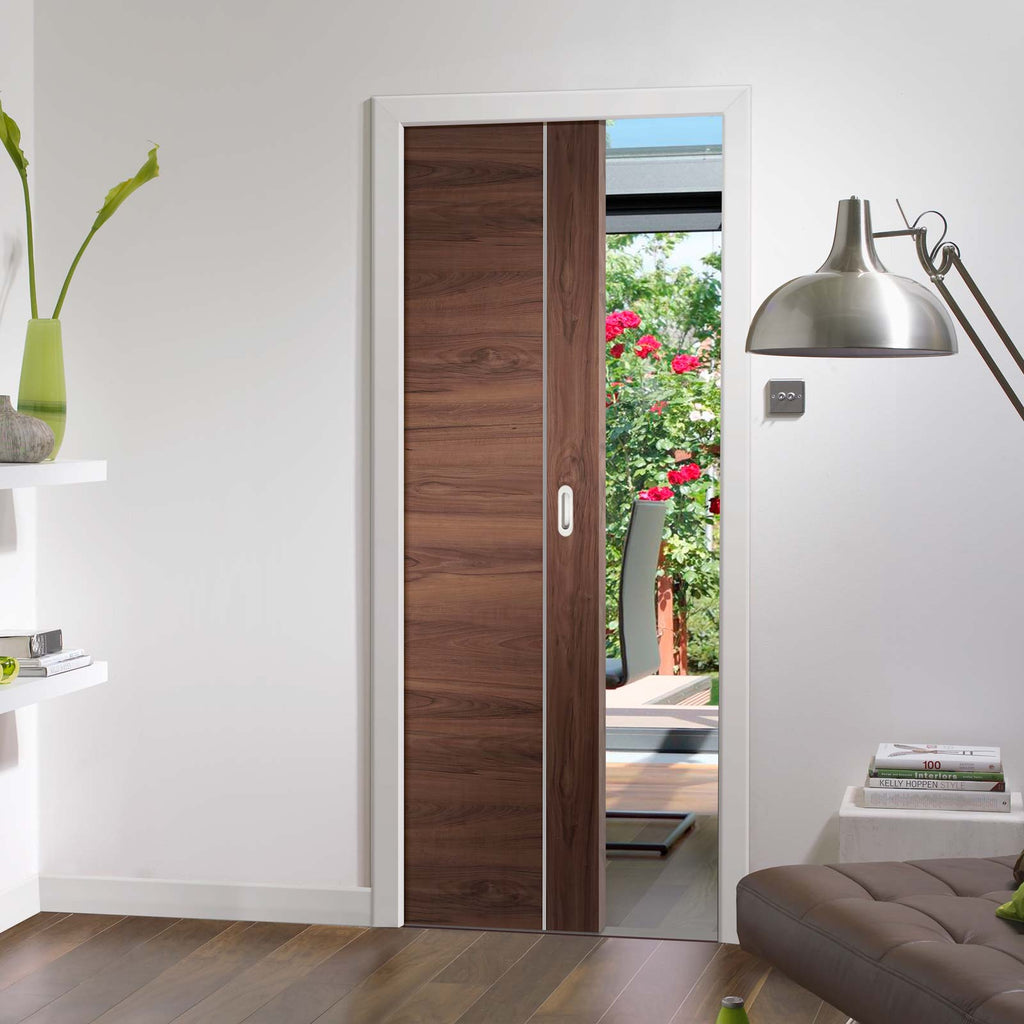 Forli Walnut Flush Single Evokit Pocket Door - Aluminium Inlay - Prefinished