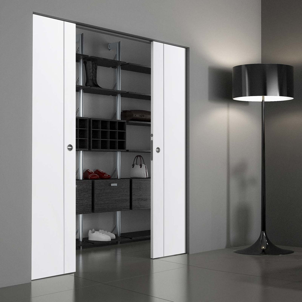 Forli White Flush Absolute Evokit Double Pocket Door - Aluminium Inlay - Prefinished