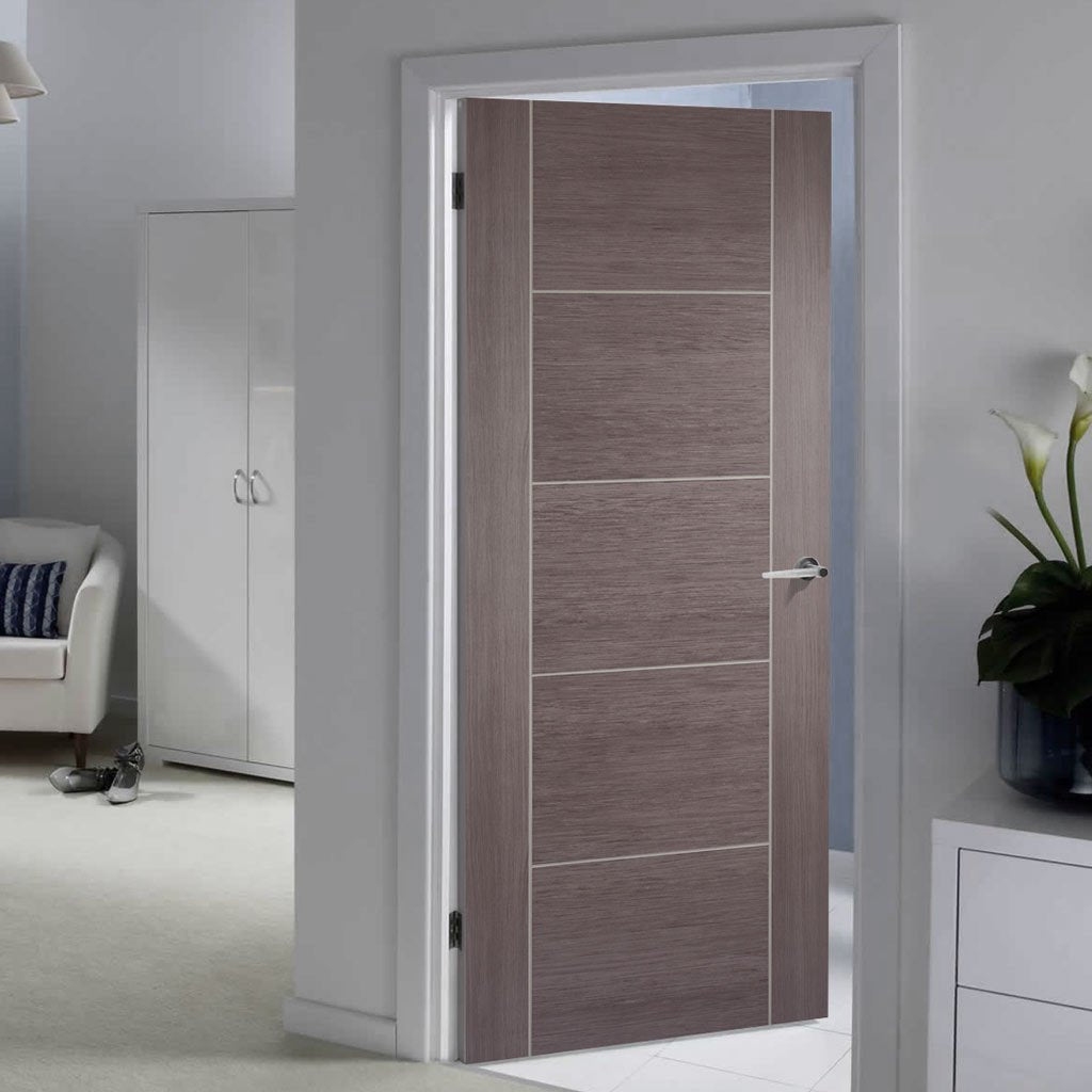 Laminate Vancouver Medium Grey Fire Door - 1/2 Hour Fire Rated - Prefinished
