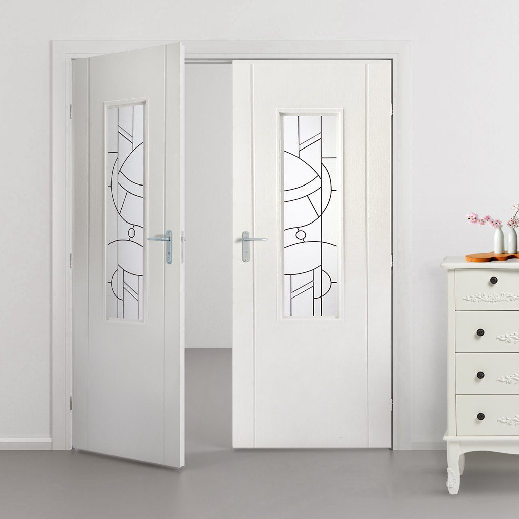 Contemporary Lightly Grained PVC Door Pair - Forfar Abstract Clear Glass