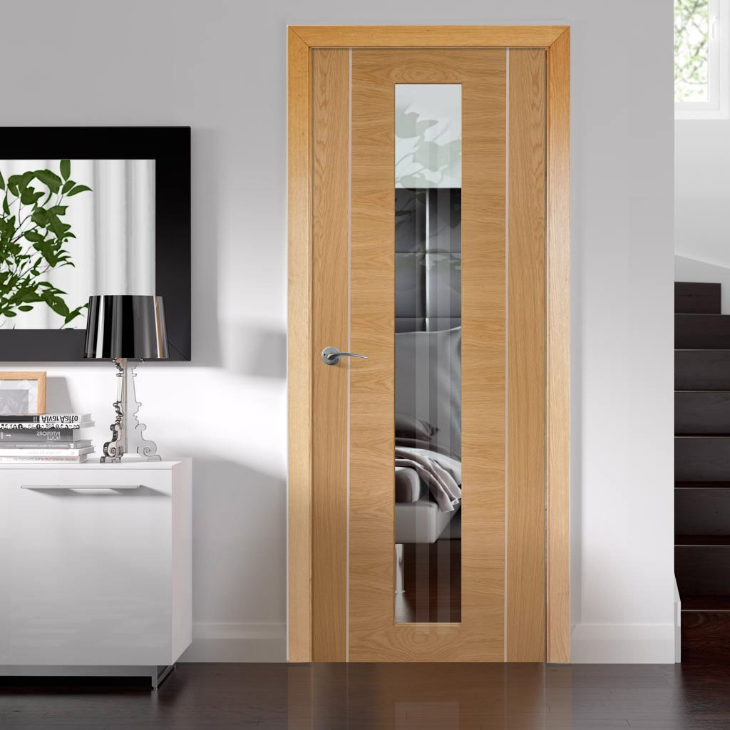 Door and Frame Kit - Forli Oak Flush Door - Inlay & Clear Glass - Prefinished