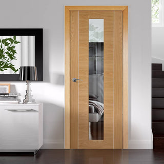 Image: Door and Frame Kit - Forli Oak Flush Door - Inlay & Clear Glass - Prefinished