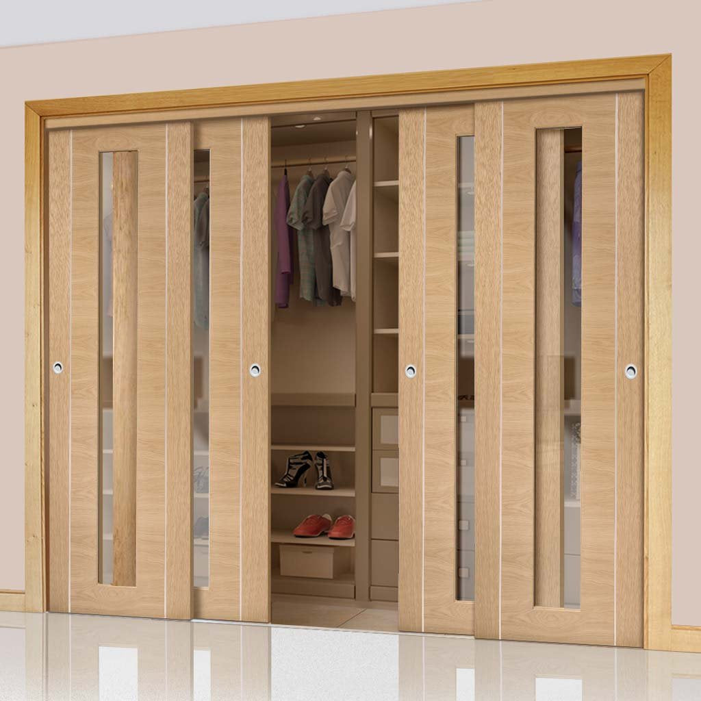Bespoke Thruslide Forli Oak Glazed 4 Door Wardrobe and Frame Kit - Aluminium Inlay - Prefinished
