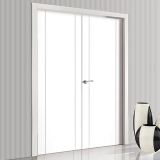Image: Bespoke Forli White Flush Door Pair - Aluminium Inlay - Prefinished
