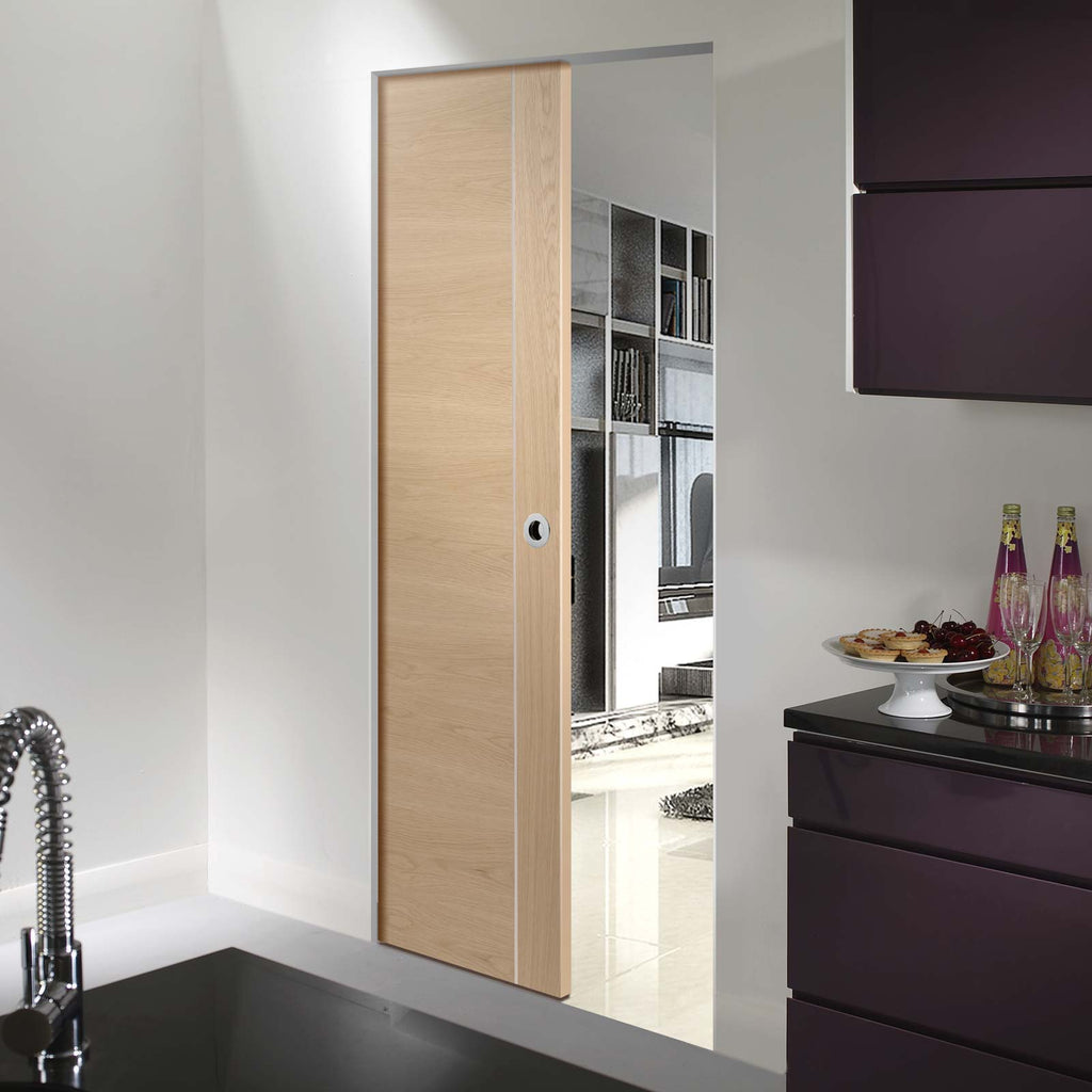 Forli Oak Flush Absolute Evokit Pocket Door - Aluminium Inlay, Prefinished
