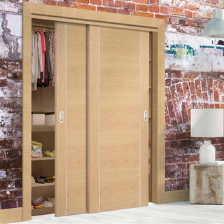 Image: Bespoke Thruslide Forli Oak Flush 2 Door Wardrobe and Frame Kit - Aluminium Inlay - Prefinished