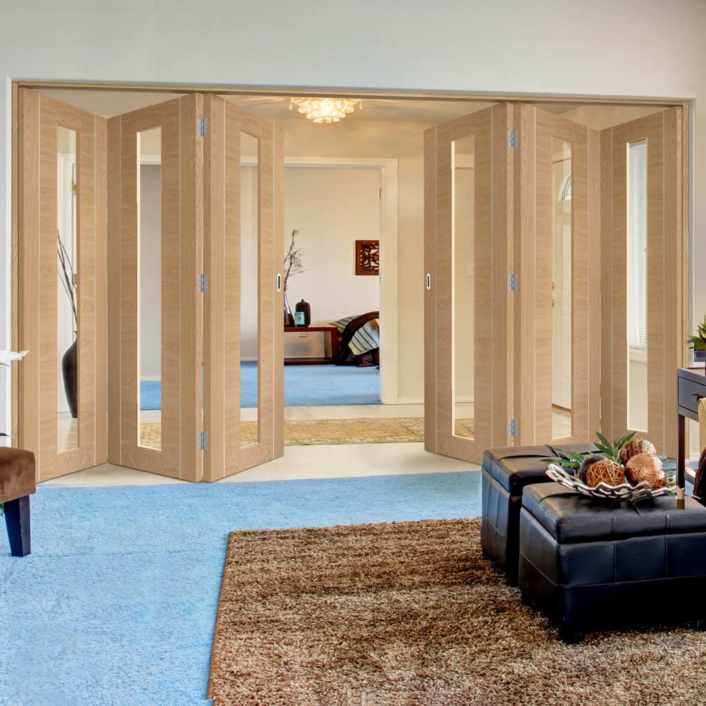 Bespoke Thrufold Forli Oak Glazed Folding 3+3 Door - Aluminium Inlay - Prefinished