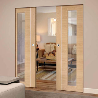 Image: Bespoke Forli Oak Glazed Double Frameless Pocket Door - Aluminium Inlay - Prefinished
