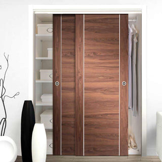 Image: Two Sliding Wardrobe Doors & Frame Kit - Forli Walnut Flush Door - Aluminium Inlay - Prefinished