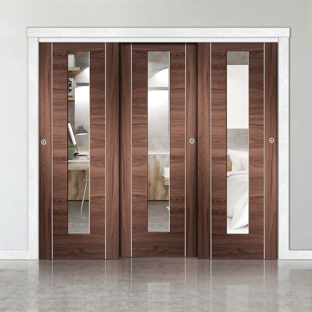 Three Sliding Doors and Frame Kit - Forli Walnut Flush Door - Clear Glass - Aluminium Inlay - Prefinished