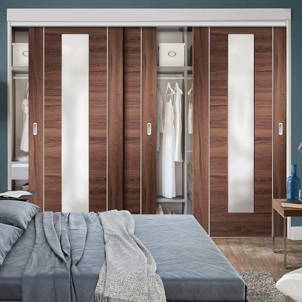 Bespoke Thruslide Forli Walnut Glazed 3 Door Wardrobe and Frame Kit - Aluminium Inlay - Prefinished