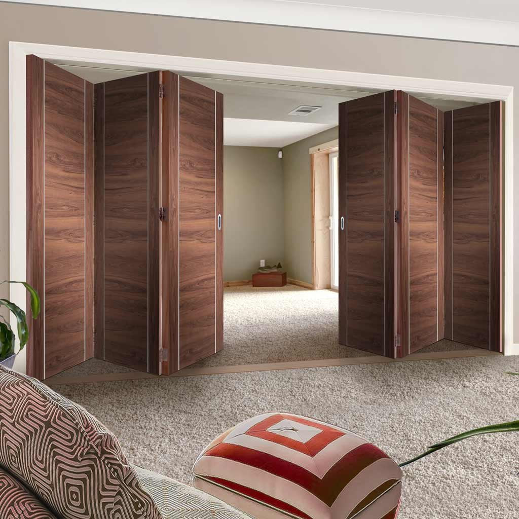 Bespoke Thrufold Forli Walnut Flush Folding 3+3 Door - Aluminium Inlay - Prefinished