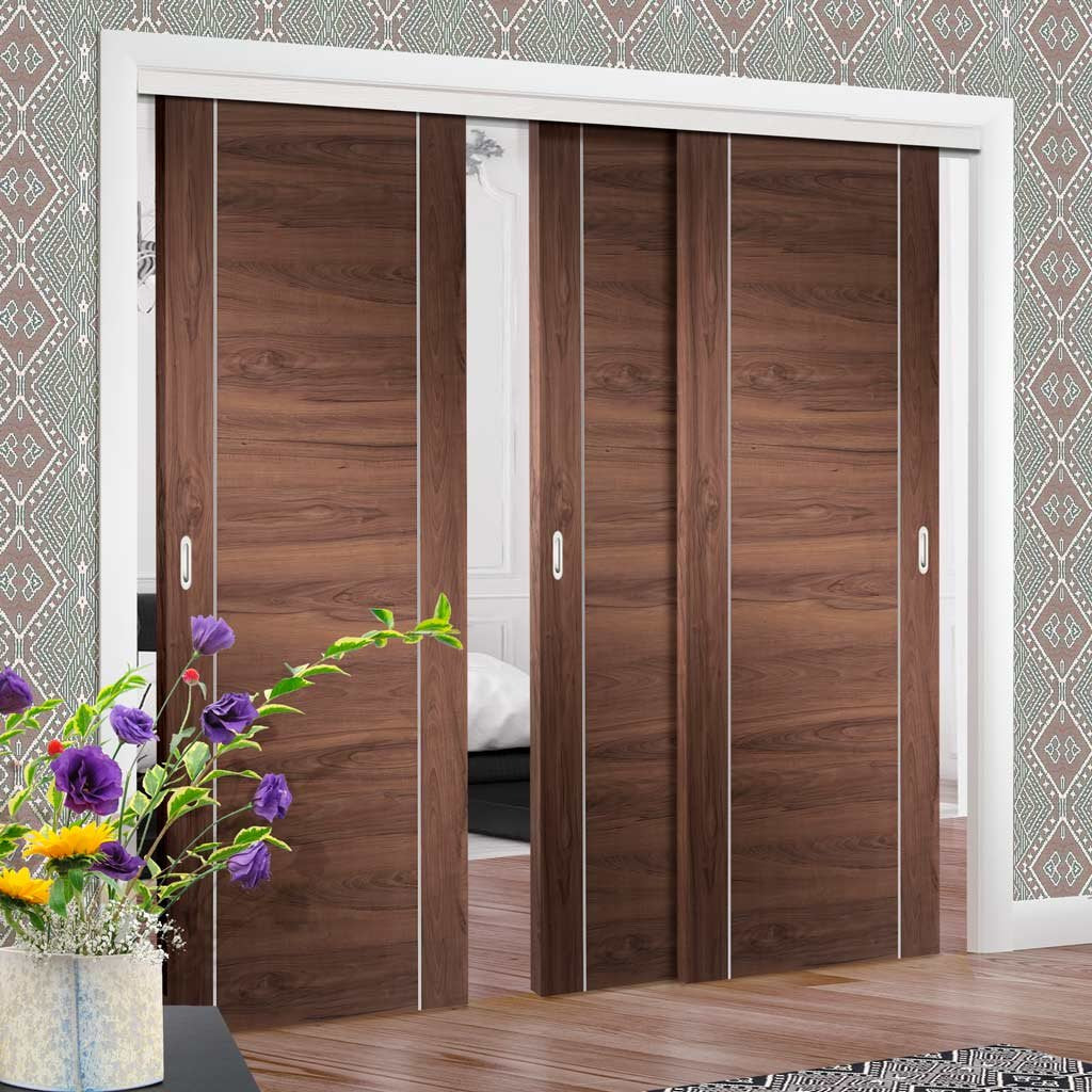 Three Sliding Doors and Frame Kit - Forli Walnut Flush Door - Aluminium Inlay - Prefinished