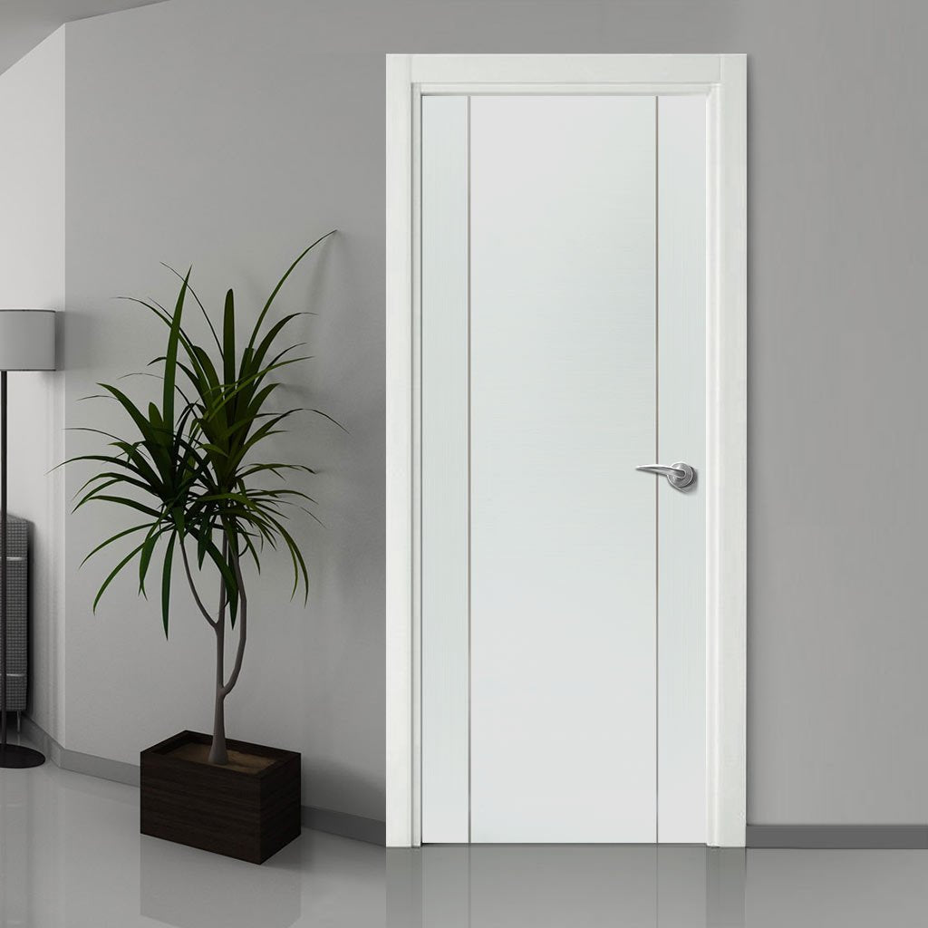 Bespoke Forli White Flush Fire Door - Aluminium Inlay - 1/2 Hour Fire Rated - Prefinished