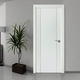 Image: Bespoke Forli White Flush Fire Door - Aluminium Inlay - 1/2 Hour Fire Rated - Prefinished