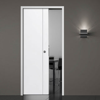 Image: Forli White Flush Single Evokit Pocket Door - Aluminium Inlay - Prefinished