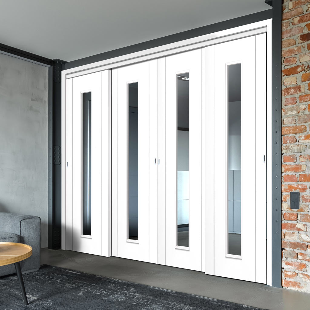 Four Sliding Doors and Frame Kit - Forli White Flush Door - Clear Glass - Aluminium Inlay - Prefinished