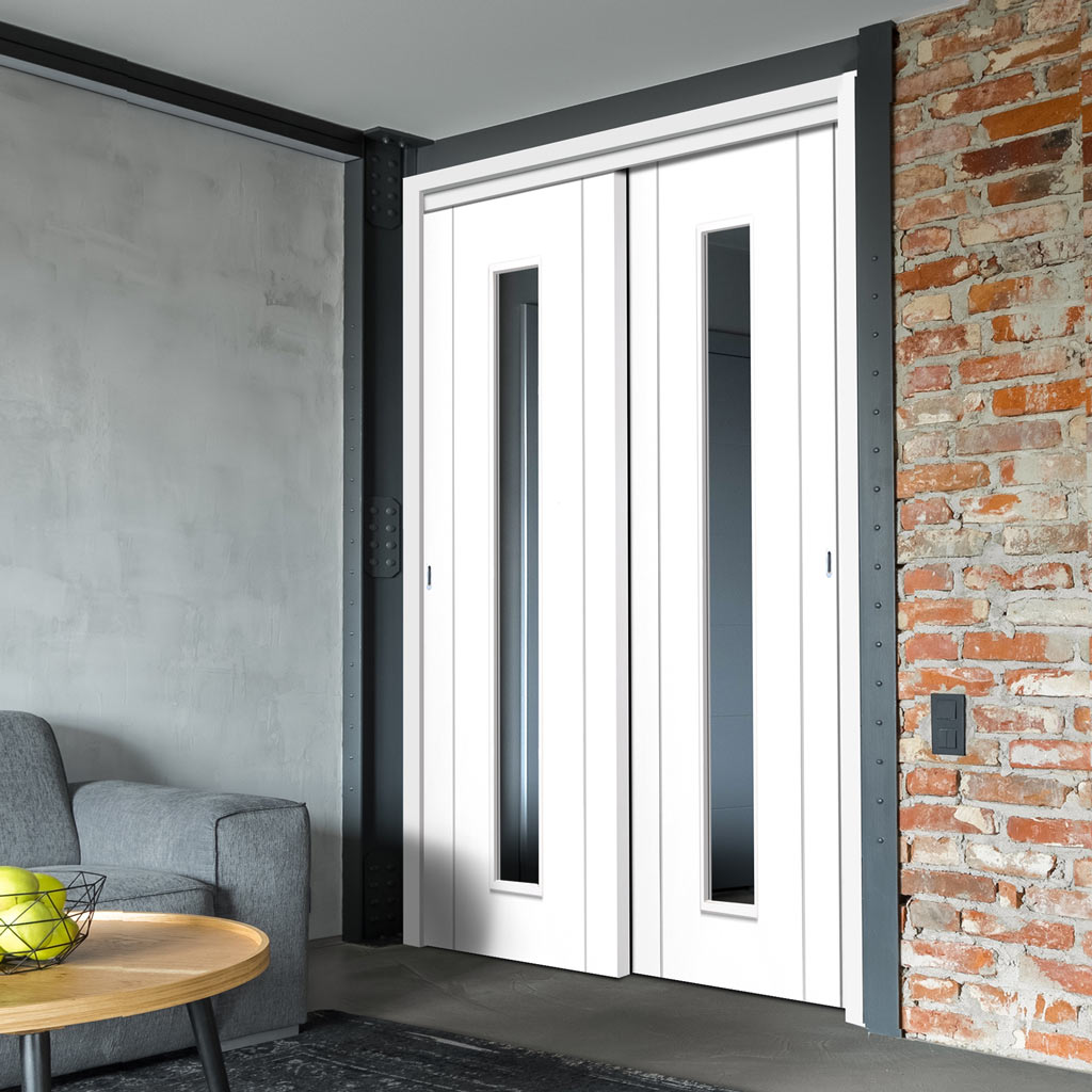 Two Sliding Doors and Frame Kit - Forli White Flush Door - Clear Glass - Aluminium Inlay - Prefinished