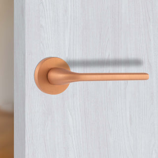 Image: Forme Milly Designer Lever on Round Rose - Urban Satin Copper