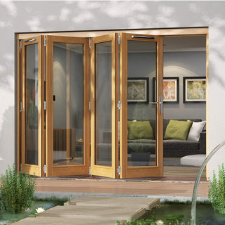 Image: Jeld-Wen Canberra Stained Oak Fold and Slide Solid Patio Doorset, SFCAN304L, Left, 2994mm Wide