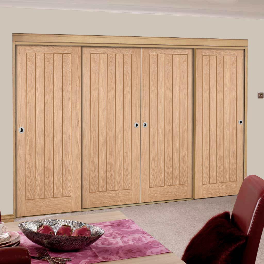 Four Sliding Wardrobe Doors & Frame Kit - Belize Oak Door - Prefinished