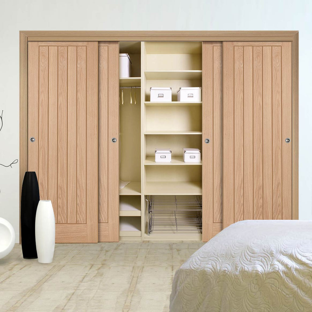 Four Sliding Wardrobe Doors & Frame Kit - Belize Oak Door - Unfinished