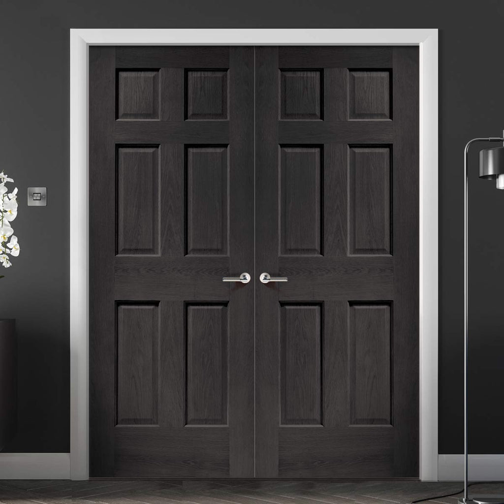 Prefinished Bespoke Colonial Oak 6 Panel Door Pair - No Raised Mouldings - Choose Your Colour
