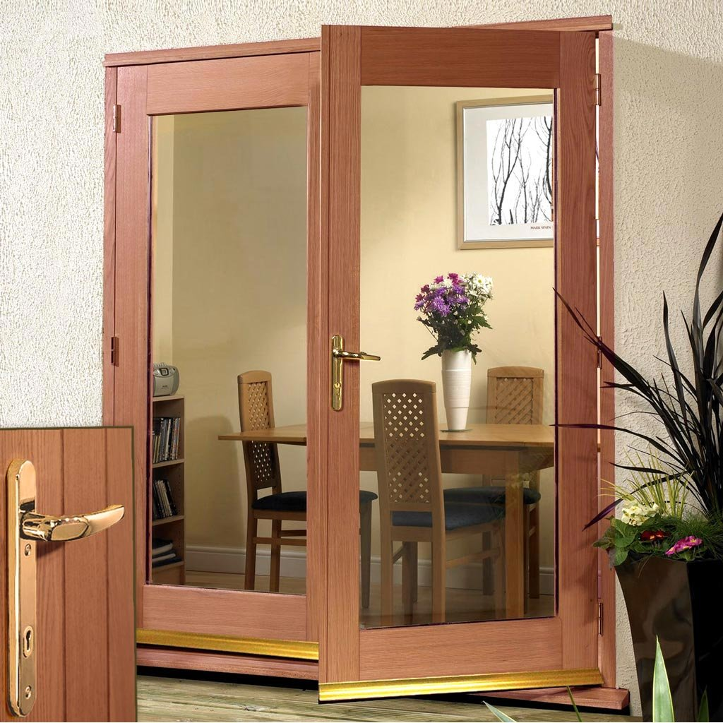 La Porte Hardwood French Door Pair & Frame Set - Brass Fittings