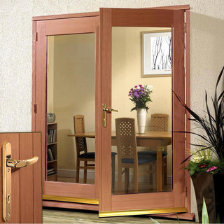 Image: La Porte Hardwood French Door Pair & Frame Set - Brass Fittings