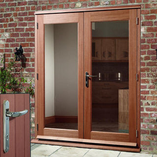 Image: La Porte Hardwood French Door Pair & Frame Set with Chrome Fittings